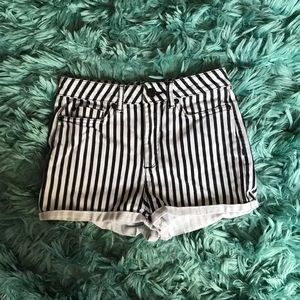 Topshop Moto Striped Shorts